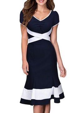 Round Neck Short Sleeve Women's Knee Length Day Dress