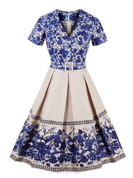 Floral Print Short Sleeve V Neck Women's Skater Dress