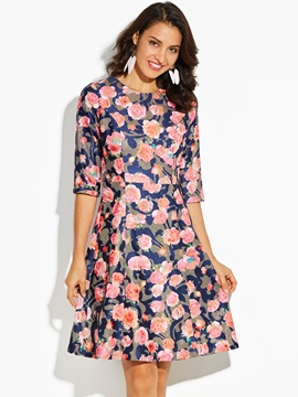 Color Block Floral Print Mid-Calf Women's A-Line Dress