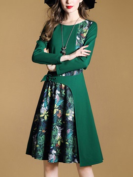 Chic Green Long Sleeve Women's Short Day Dress