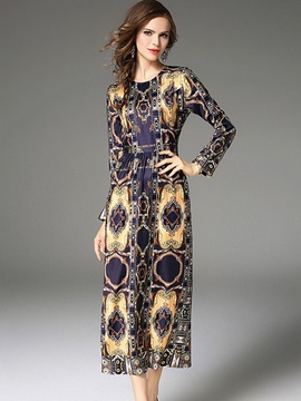 Floral Imprint Long Sleeve Women's Knee Length Day Dress
