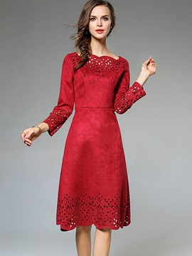 Chic Red Long Sleeve Women's Knee Length Day Dress