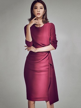 Solid Color Half Sleeve Women's Knee Length Day Dress