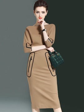 Solid Color Long Sleeve Knee Length Day Dress