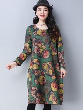 Ethnic Color Block Print Long Sleeve Women's Casual Day Dress