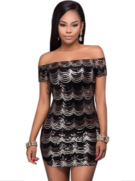 Slash Neck Sequins Patchwork Women's Bodycon Dress