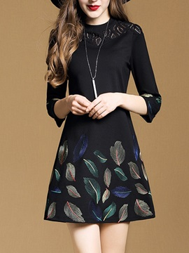 Lace Patchwork Print 3/4 Sleeve Women's Skater Dress