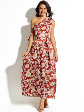 One-Shoulder Flower Print Women's Maxi Dress