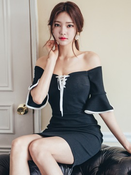 Off Shoulder Flare Sleeve Lace-Up Women's Bodycon Dress