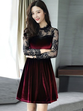 Lace Patchwork Velvet Women's Skater Dress