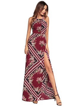Ankle-Length Halter Lace-Up Women's Maxi Dress
