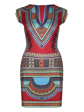Above Knee Knitted Fabrics Print Women's Bodycon Dress