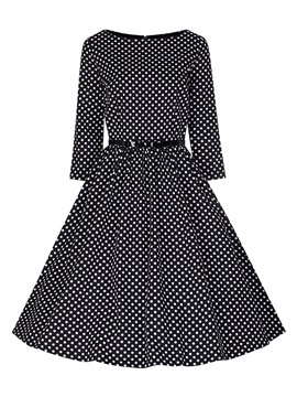 Mid-Calf Polka Dots Round Neck Women's Skater Dress