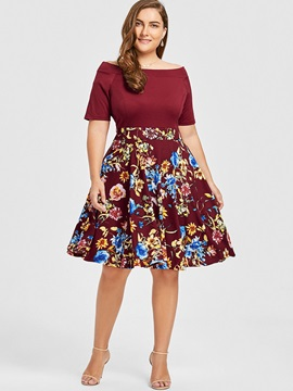 Knee-Length Slash Neck Plusee Women's Skater Dress