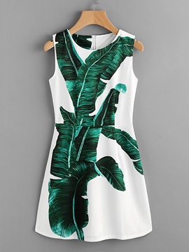 Tidebuy Sleeveless Round Neck Print Women's A-Line Dress