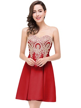 Tidebuy See-Through Mesh Appliques Embroidery A Line Dress