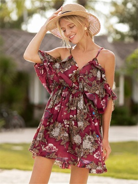 Tidebuy Floral Viscose Fiber Backless Women's A-Line Dress
