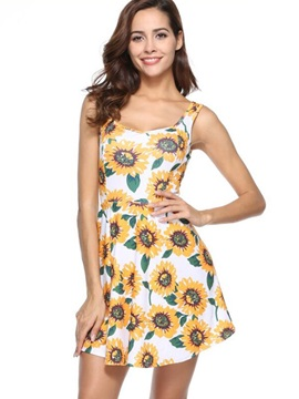 Tidebuy Sleeveless Sunflowers Pattern Women's Day Dress