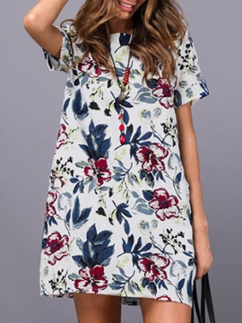 Tidebuy Floral Short Sleeves Women's Day Dress