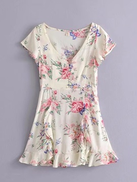 Tidebuy Floral V-neck Button Women's A-Line Dress