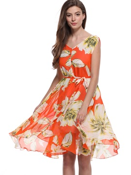 Tidebuy V Neck Floral Print Women's Casual Dress