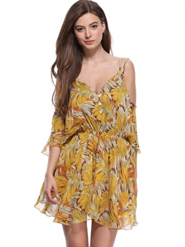Tidebuy Button Print V-neck Pullover Women's A-Line Dress