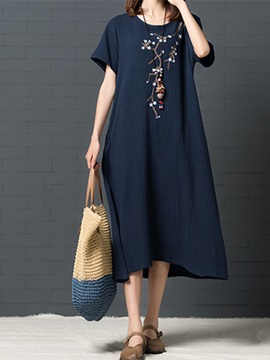 Tidebuy Embroidery Pocket Floral Women's Casual Dress
