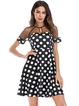 Tidebuy Polka Dots Pullover Round Neck Short Sleeves Women's Dress