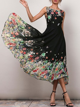 Tidebuy Expansion Floral Print Women's Casual Dress