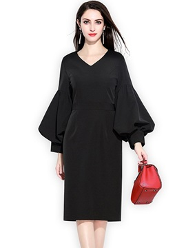 Lantern Sleeve Elegant V Neck Women's Casual Dress