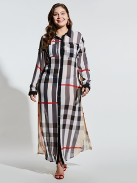 Color Block Polyester Pocket Women's Casual Dress