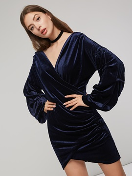 Lantern Sleeve V Neck Pleated Women's Bodycon Dress
