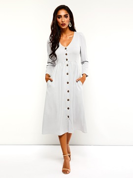 Mid-Calf Single-Breasted Button Fall Plain Women's A-Line Dress
