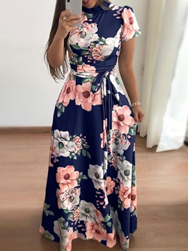 Short Sleeve Floor-Length Print A-Line Women's Maxi Dress