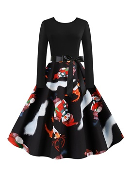 Christmas Mid-Calf Long Sleeve Print Pullover Expansion Women's Dress