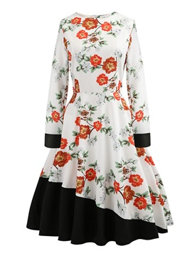 Round Neck Print Long Sleeve Vintage Floral Women's Dress
