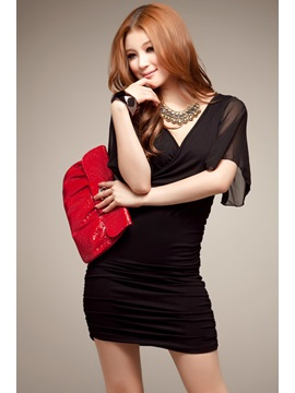 New Sexy Korean Style Crossover V-neck Butterfly Floating Sleeves Chiffon Sheath Dress