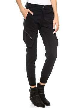 Black Oblique Zipper Medium Waist Casual Pants