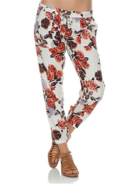 Vogue Floral Printing Lace-Up Pant