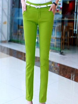 Sweet Slim Solid Color Casual Pants