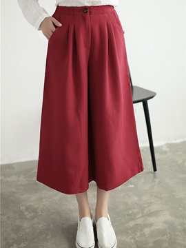 Solid Color Pleated High-Waist Pant