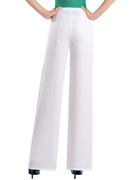 Simple Plain Wide-Leg Chiffon Pant