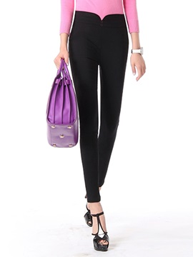Slimming High-Waist Button Decorated Pant