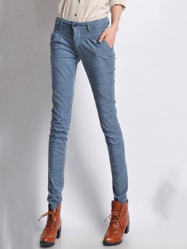 Pure Color Pleated Pencil Pant