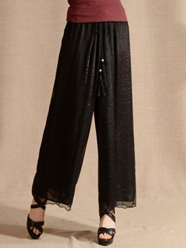 Casual Plain Lace-Up Wide-Leg Pant