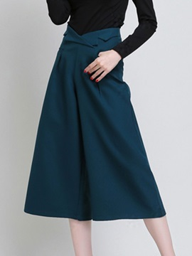 Solid Color High-Waist Wide-Leg Women's Pant