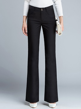 Solid Color Pocket Decorated Flared Pant