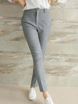 Pure Color Straight-Leg Ninth-Length Pant