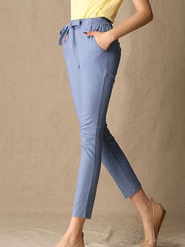 Simple Pure Color Lace-Up Waistband Pant