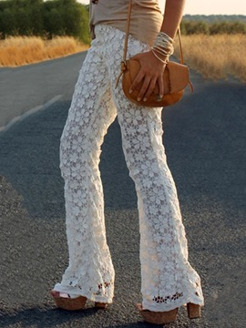 Elegant Lace Designed Wide-Leg Pant